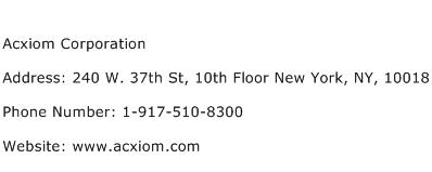 Acxiom Corporation Address Contact Number