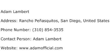 Adam Lambert Address Contact Number