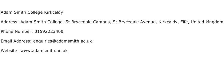 Adam Smith College Kirkcaldy Address Contact Number