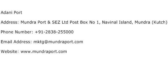 Adani Port Address Contact Number