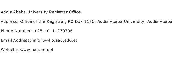 Addis Ababa University Registrar Office Address Contact Number