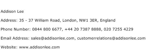 Addison Lee Address Contact Number