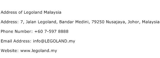 Address of Legoland Malaysia Address Contact Number