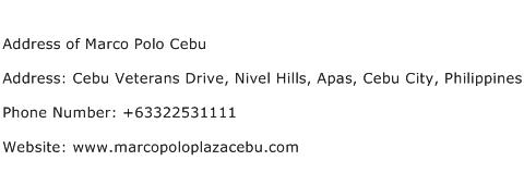Address of Marco Polo Cebu Address Contact Number