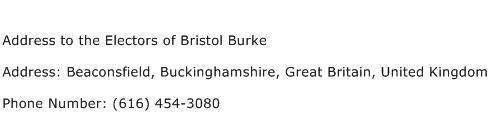 Address to the Electors of Bristol Burke Address Contact Number