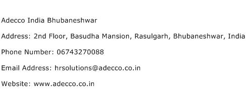 Adecco India Bhubaneshwar Address Contact Number