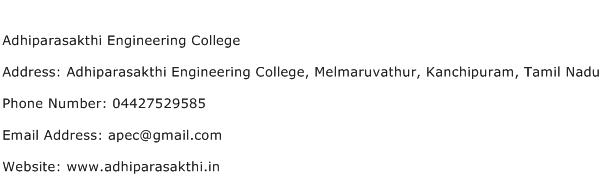 Adhiparasakthi Engineering College Address Contact Number