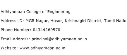 Adhiyamaan College of Engineering Address Contact Number