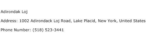 Adirondak Loj Address Contact Number