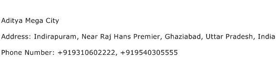 Aditya Mega City Address Contact Number