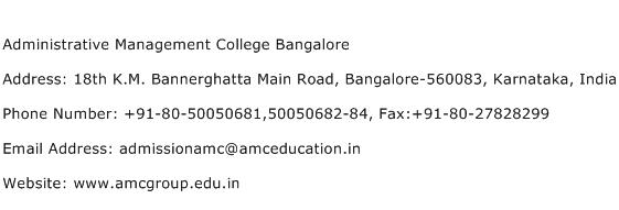 Administrative Management College Bangalore Address Contact Number