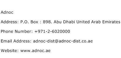 Adnoc Address Contact Number