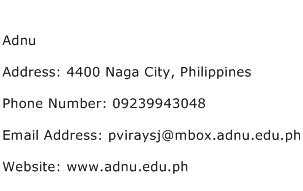 Adnu Address Contact Number