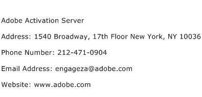 Adobe Activation Server Address Contact Number