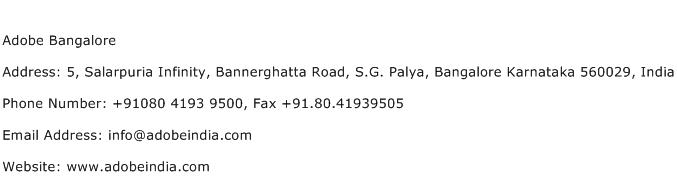 Adobe Bangalore Address Contact Number