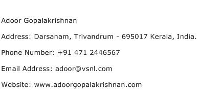 Adoor Gopalakrishnan Address Contact Number