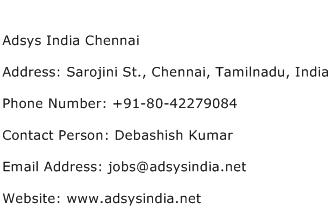 Adsys India Chennai Address Contact Number
