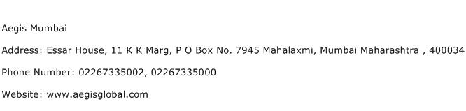 Aegis Mumbai Address Contact Number