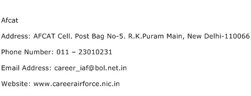 Afcat Address Contact Number