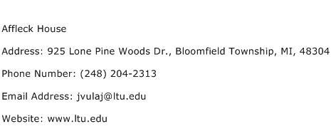 Affleck House Address Contact Number