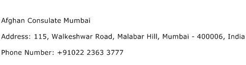 Afghan Consulate Mumbai Address Contact Number