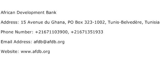 African Development Bank Address Contact Number