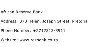 African Reserve Bank Address Contact Number