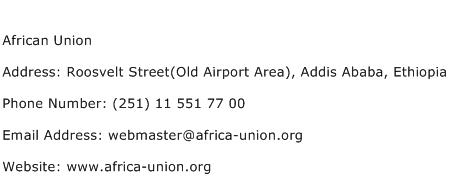 African Union Address Contact Number
