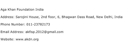 Aga Khan Foundation India Address Contact Number