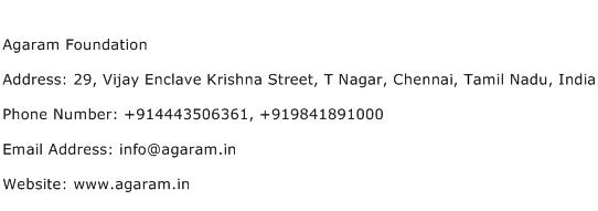 Agaram Foundation Address Contact Number