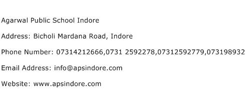Agarwal Public School Indore Address Contact Number