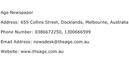 Age Newspaper Address Contact Number