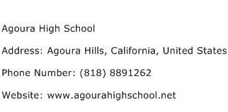Agoura High School Address Contact Number