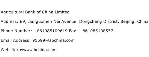 Agricultural Bank of China Limited Address Contact Number