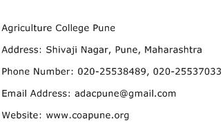 Agriculture College Pune Address Contact Number