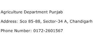 Agriculture Department Punjab Address Contact Number