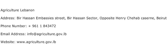 Agriculture Lebanon Address Contact Number