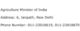 Agriculture Minister of India Address Contact Number