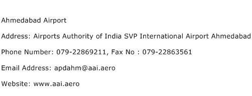 Ahmedabad Airport Address Contact Number