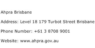 Ahpra Brisbane Address Contact Number