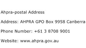 Ahpra postal Address Address Contact Number