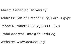Ahram Canadian University Address Contact Number
