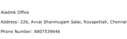 Aiadmk Office Address Contact Number