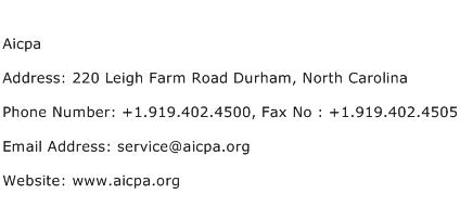 Aicpa Address Contact Number