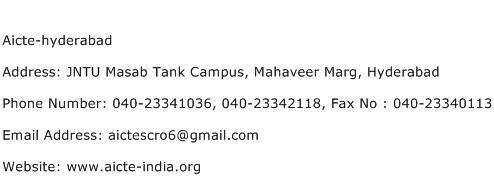 Aicte hyderabad Address Contact Number