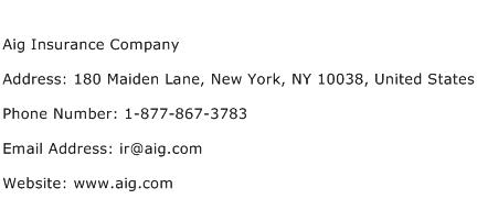 Aig Insurance Company Address Contact Number