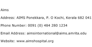 Aims Address Contact Number
