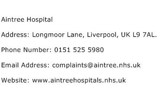 Aintree Hospital Address Contact Number