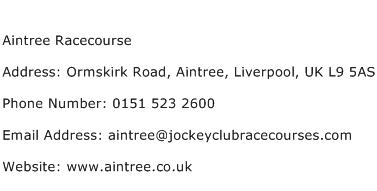 Aintree Racecourse Address Contact Number