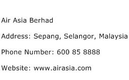 Air Asia Berhad Address Contact Number
